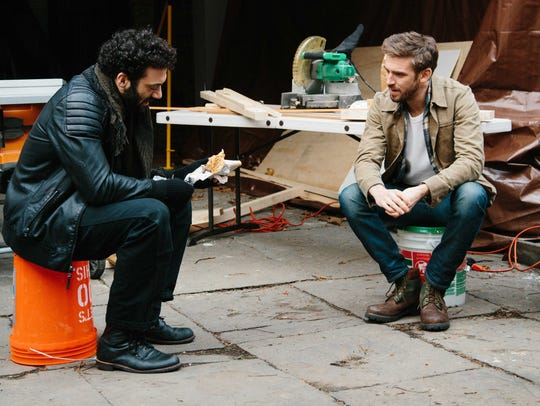 Reece (Morgan Spector) and Will (Dan Stevens) talk