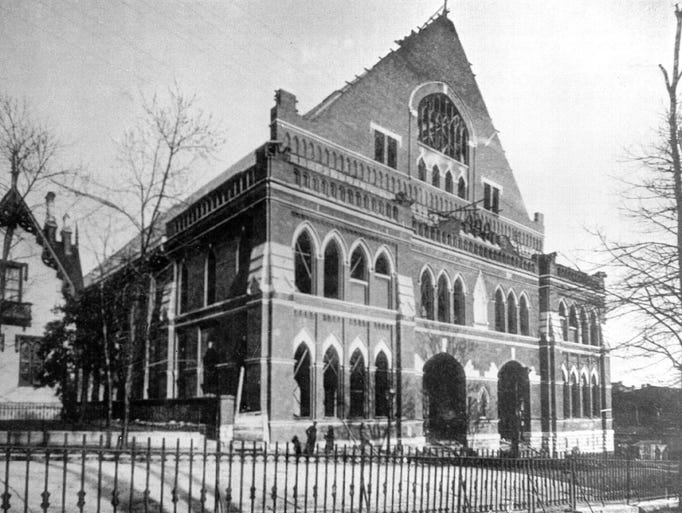 The Union Gospel Tabernacle, later the Ryman Auditorium, is under construction in downtown Nashville in 1891.
