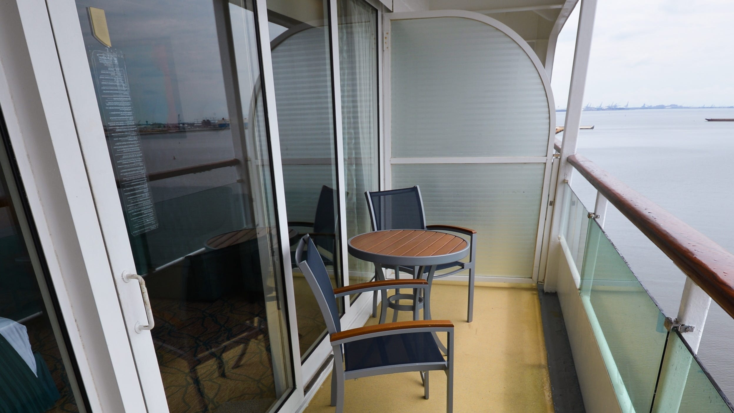 The balcony of a wheelchair-accessible Ocean View cabin.