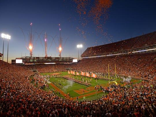 Memorial Stadium at night.