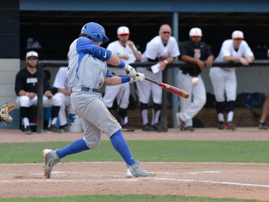 Faulkner's Jacob Freeland at the plate against Indiana