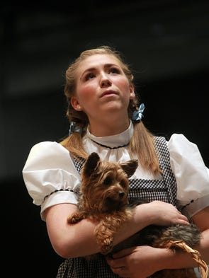 Alison Devore rehearses a scene from The Wizard of Oz at the Coralville Center for the Performing Arts on Thursday, July 17, 2014.