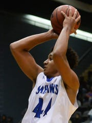 Stephen Decatur's Keve Aluma with the jumper against Potomac Senior High on Thursday, Dec. 29, 2016. during the Governor's Challenge at the Wicomico Youth and Civic Center in Salisbury, Md.