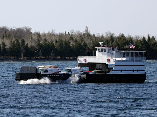 A Washington Island Ferry Line vessel makes the 30-minute trip between Northport and Washington Island on May 17, 2018. Sarah Kloepping/USA TODAY NETWORK-Wisconsin