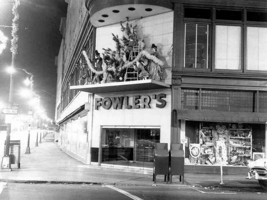 Christmas decorations greet the customers at Fowler's,