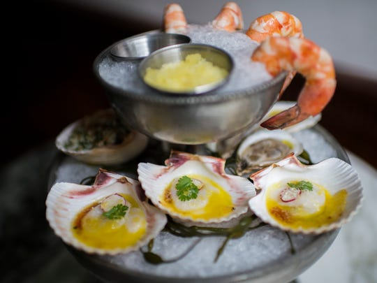 Close up of ceviche among a seafood 'plateau' from