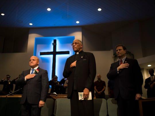 Camden Mayor Francisco 'Frank' Moran, from left, Rev.