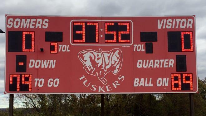 Somers High School scoreboard.