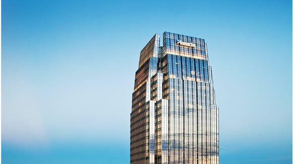 The headquarters of Pinnacle Financial Partners in downtown Nashville, Tennessee.