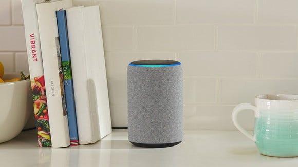 Amazon Echo smart speaker on a countertop