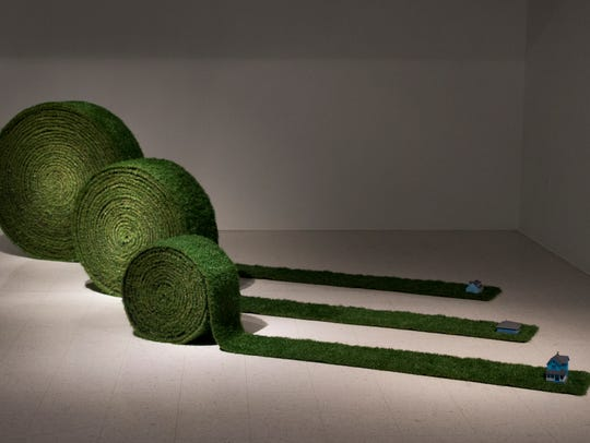 "Leticia Bajuyo, ""Turf Rolls,"" 2017, artificial grass,"