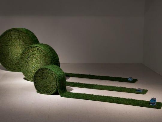 """Leticia Bajuyo, """"Turf Rolls,"""" 2017, artificial grass,"""