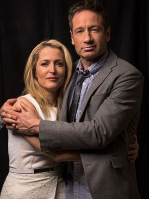 'X-Files' stars Gillian Anderson and David Duchovny are together again playing Scully and Mulder in a six-episode Fox event series that premieres Jan. 24.