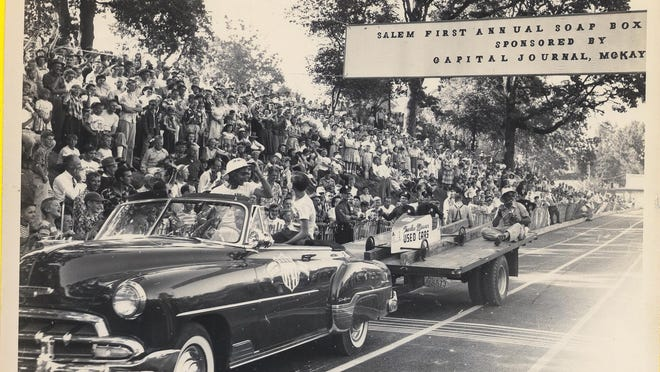 Doug Adams is celebrated in 1952 after winning the first Soap Box Derby in Salem.