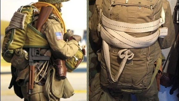 American Paratrooper gear during WWII (Pinterest photos)  Highlighting type of webbing produced by Century Ribbon Mills