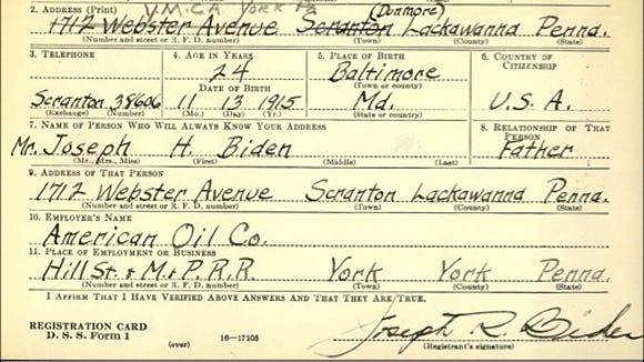 WWII Draft Registration Card for Joseph R. Biden, Sr. done October 16, 1940, in York, PA (Source:  Ancestry.com)