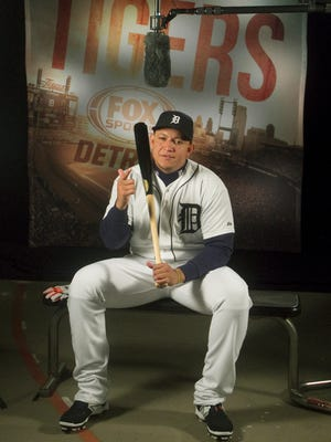 Detroit Tigers slugger Miguel Cabrera does a video spot for Fox Sports Detroit on Feb. 28, 2015.