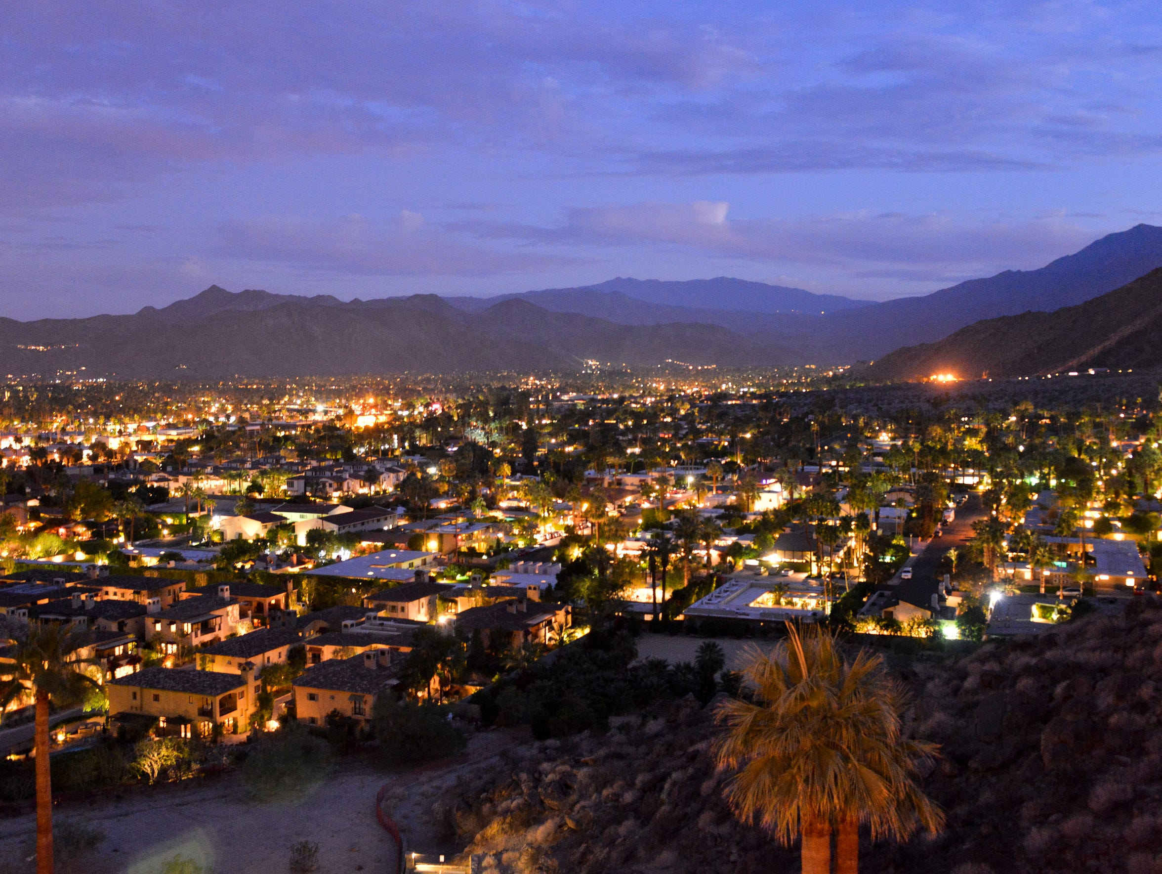 Night view of Palm Springs.