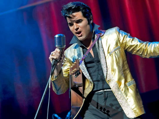 "Elvis Presley tribute artist Dean Z performs as the 1950s-era ""King of Rock 'n' Roll."""