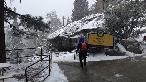 Snow covers the ground at the Palm Springs Aerial Tramway. Friday, May 15, 2015.