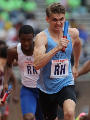James Nagotko runs the second leg of the 4x400 for Mahwah at the Penn Relays. Mahwah came in with a time of 3:23.2 in Philadelphia. Saturday, April 29, 2017