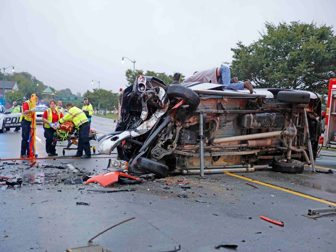 Three vehicles collided on Riverside Drive Wednesday,