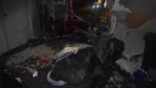 Destroyed interior of unit destroyed by fire at Pangea Apartments at 46th Street and Arlington Avenue.