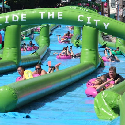 Slide the City took over downtown Nyack Saturday, with