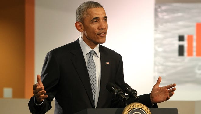 President Barack Obama speaks to the crowd at Indatus on Thursday afternoon.
