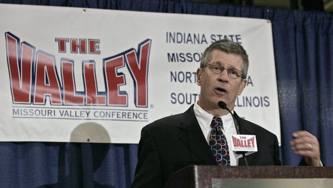 Doug Elgin, Commissioner for the Missouri Valley Conference (MVC) responds to questions Tuesday, Oct. 11, 2005, during a news conference in St. Louis where he announced that the MVC has reached a multi-year agreement with CBS to broadcast the Missouri Valley Conference men's college championship basketball games.