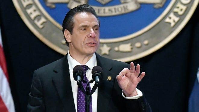 New York Gov. Andrew Cuomo delivers his State of the State address at the Empire State Plaza Convention Center on Wednesday.