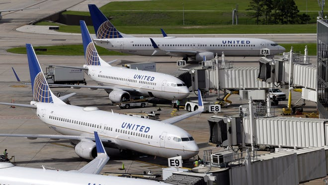 United Airlines planes  parked at Houston George Bush Intercontinental Airport on Oct. 23, 2015.
