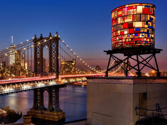 Tom Fruin's water tower that is currently installed