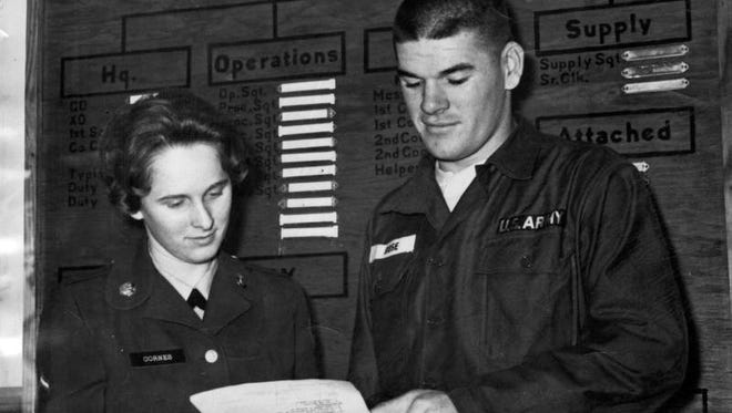Rookie of the barracks: Pete Rose was mopping barracks floors at Fort Knox, Ky., part of his six-month hitch in the U.S. Army Reserves, when he learned he had won National League Rookie of the Year for hitting .273 with 170 hits and scoring 101 runs.  Nov. 20, 1963: Pete Rose, outstanding rookie second baseman for the Cincinnati Reds last season, is serving a six-month hitch with the U.S. Army at Ft. Knox Kentucky, where he ran across old school chum, Private First Class Carolyn Cornes of the Armor Center's WAC Detachment. Both attended Sayler Park Elementary School in Cincinnati.