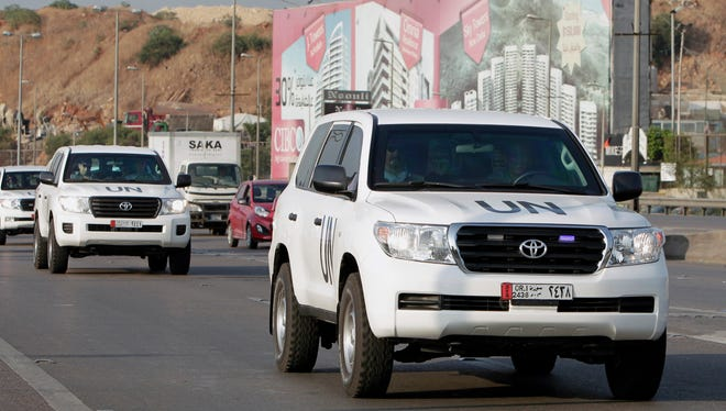 The convoy of a U.N. team of weapons inspectors.