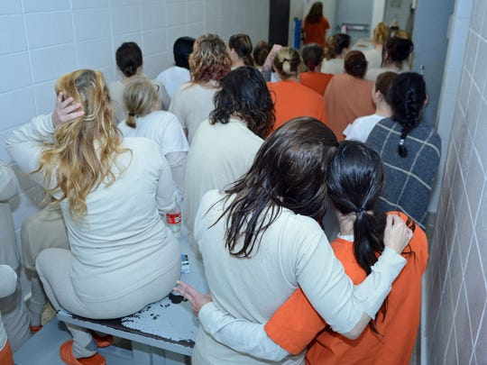 Women crammed into a cell nside the Pickens County Detention Center