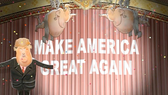 Donald Trump sings in this parody animation.