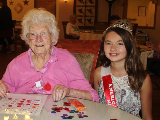 On Aug. 6, the American Legion Auxiliary Juniors of Unit 10, Wausau, played Bingo with members of the Acorn Hill Senior Living Community, Mosinee. The American Legion Auxiliary Unit 10 of Wausau wants to recognize Ione Williams, whose deceased husband, George, was very active in the Wisconsin American Legion. The American Legion Auxiliary's congratulations goes out to Ione for being a continuous 68-year member of the American Legion Auxiliary Hamilton-Harris Post No. 447 of Viola, Wis. Ione turned 98 on Sept. 14. Pictured here is Ione with Autumn Drake-Dabler, Unit 10's Honorary Junior President and Miss Poppy. Cards can be sent to Ione: Apt. 29 at Acorn Hill Senior Living Community, 430 Orbiting Drive, Mosinee, WI 54455.