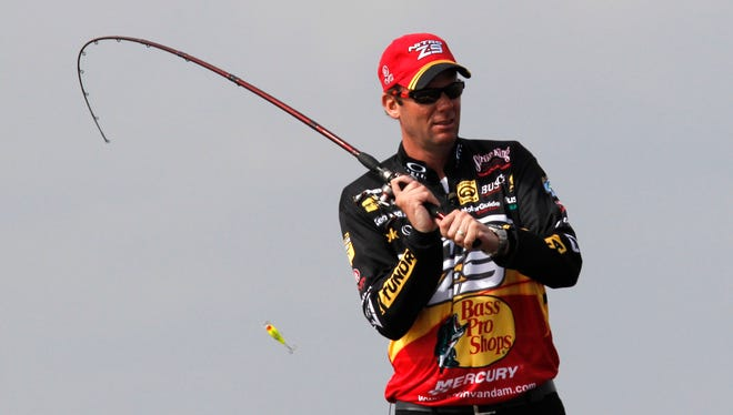 FILE - Kevin VanDam, of Kalamazoo, Mich., competes during the Bassmaster Classic during the final round in Lake Cataouatche in Jefferson Parish, La.,Feb. 20, 2011.