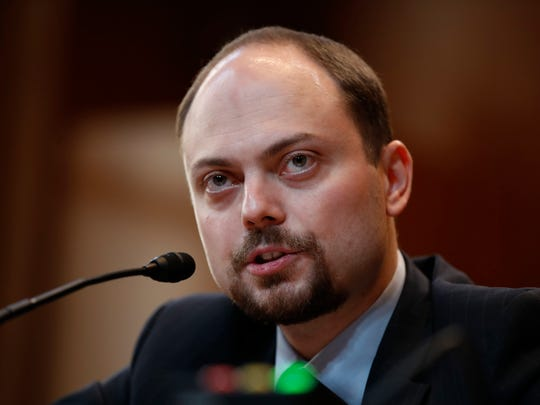 """Russian opposition politician Vladimir Kara-Murza, a vocal critic of Russian President Vladimir Putin, testifies on Capitol Hill in Washington on March 29, 2017, before the Senate Appropriation Committee hearing on """"Civil Society Perspectives on Russia."""""""