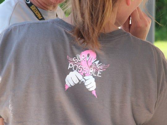 Sarah Jurkiewicz of Racine wears a T-shirt with the