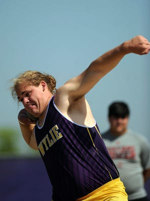 Wylie's Kade Parmelly throws the shot in the District 5-4A track and field meet on Tuesday, April 11, 2017, at Wylie High School. Parmelly won the event with a throw of 51-4.5, teammate Austin Borcik finished second.