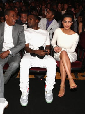 Blue-chip BFFs: Beyoncé and Jay Z sit back with West and Kardashian at the 2012 BET awards on July 1, 2012.