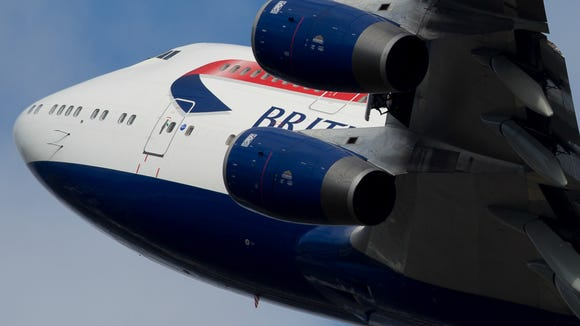A British Airways Boeing 747-400 takes off from London's
