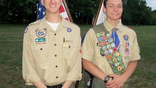 BSA Troop 32, Middletown, recently honored Andrew Jablonski for receiving the Silver Eagle Palm Award From left: Troop 32's Assistant Scoutmaster Art Rimmele, Jr., and Andrew Jablonski.