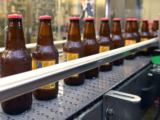 Bottles of beer on the production line at Yazoo Brewing Company.