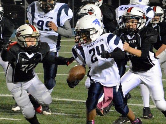 Falcons running back Christian O'Neal bolts through