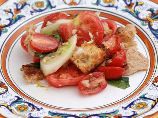 A day-old bread and tomato salad