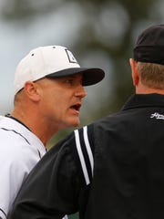 Steve Owens, arguing a balk call against his Bryant University team during a 2013 NCAA Regional game, is expected to be named the new Rutgers University baseball coach.