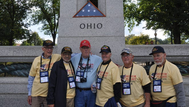 Korean War veteran Louis Lautz, second from the right, stands with other veterans who visited Washington, D.C., last fall through the nonprofit Honor Flight Tri-State.